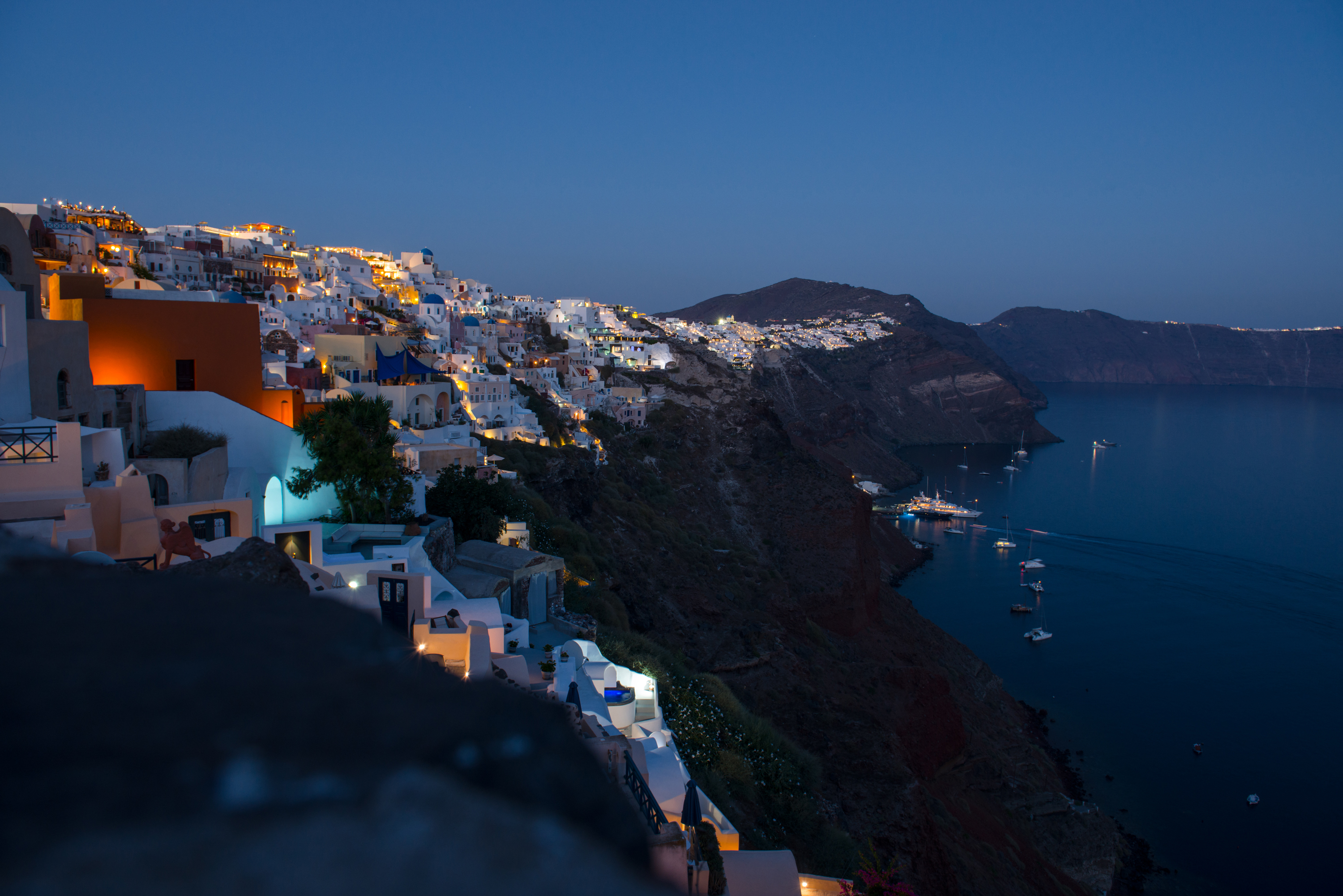 Oia on Santorini island in evening