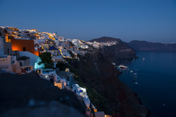 Oia on Santorini island in evening