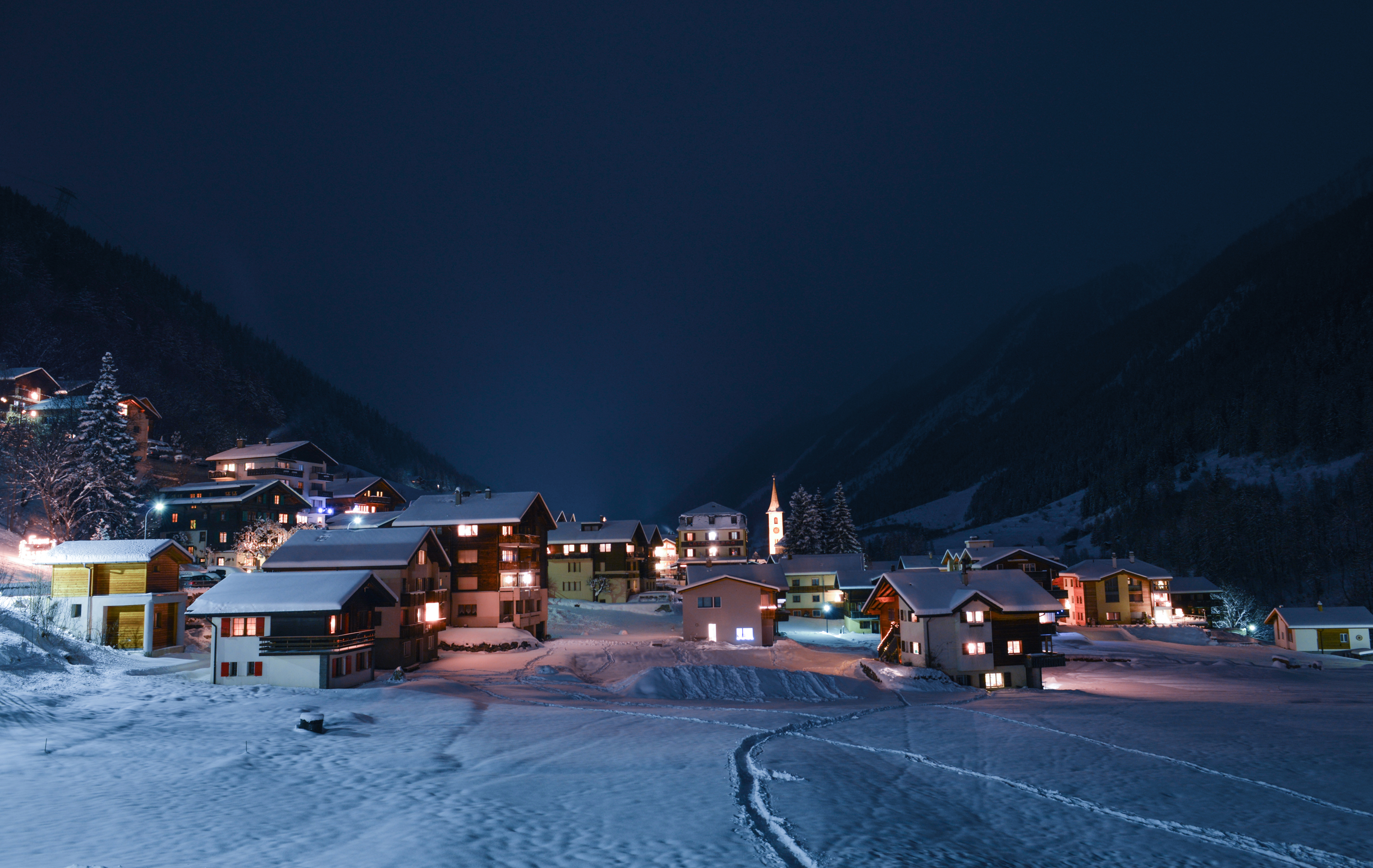 Lötschental village winter evening