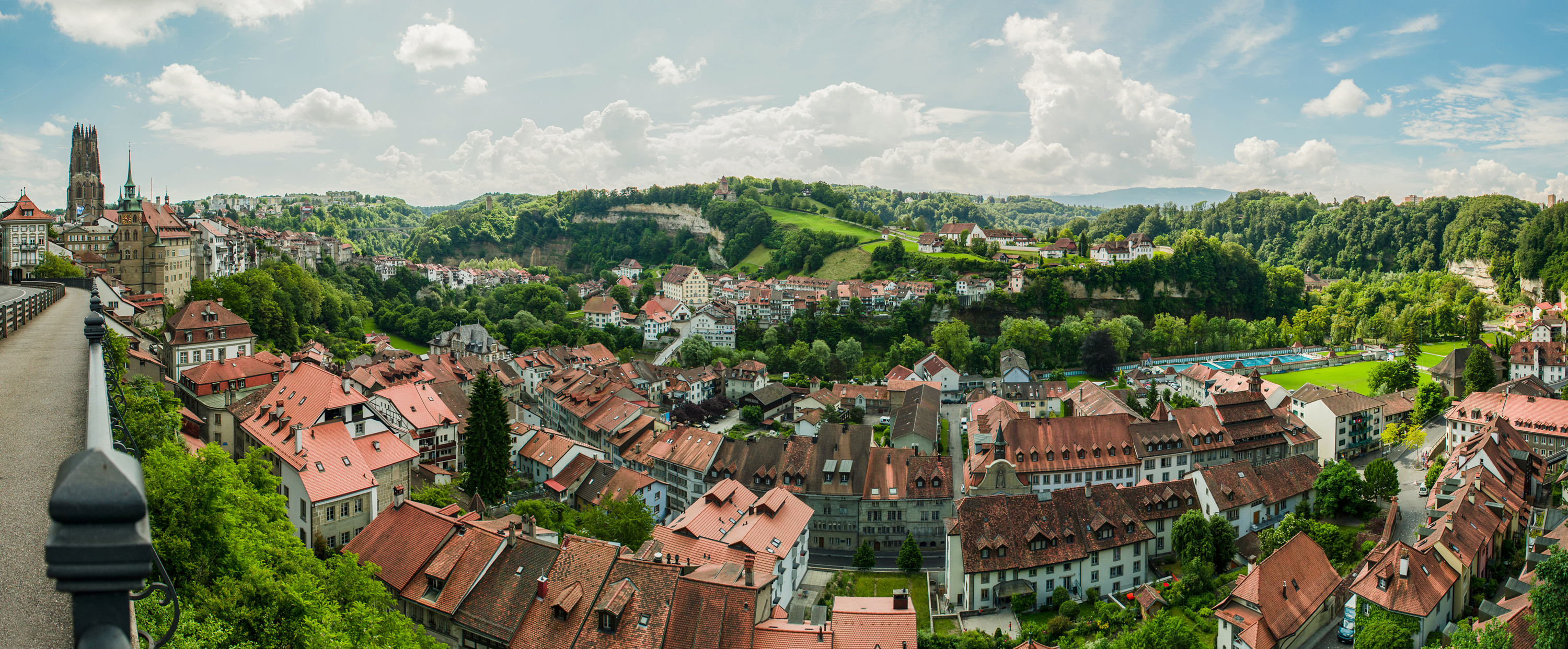 Panorama Fribourg in Switzerland