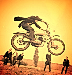 Eton College, 1960s scrambling no helmet no leathers