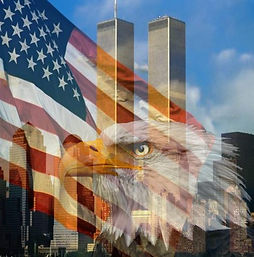 twin towers stars and stripes and american eagle