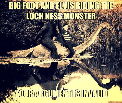 bigfoot and elvis riding the loch ness monster