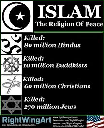islam the religion of peace but millions have been killed right wing art