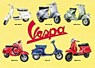 vespa poster scooter product range