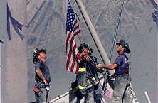 firemen 9/11 raising the stars and stripes