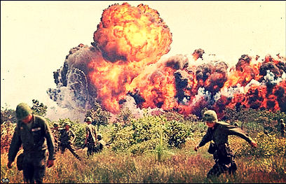American napalm bombing of the jungle in order to force the North Vietnamese back.