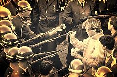 anti vietnam war flower power rifles