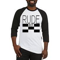 RUDE BOY RAGLAN black whiteT SHIRT