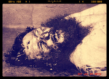 post mortem of rasputin showing the bullet wound in his forehead