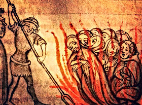 Templars being burned.