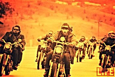 Hells Angels bikers 1960's sunset