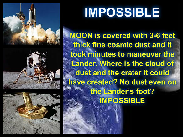 mpossible moon is covered with 3-6 feet thick fine cosmic dust