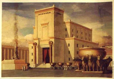 Painting re-creating the historical Temple of Solomon excavated by the Knights Templar.