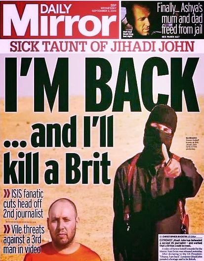daily mirror sick taunt of jihadi john i will kill a brit