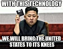 kim jong un floppy disc we will bring america to its knees with this technology