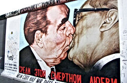 A part of the Berlin wall, depicting Leonid Brezhnev and Erich Honeker