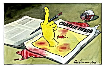 charlie hebdo finger to terrorists