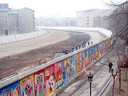 view from west berlin of the wall with graffiti art 1986