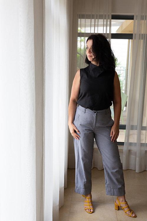 מכנסי אנני- משבצות שחור לבן