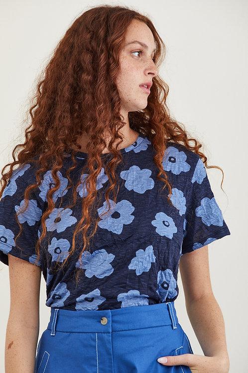 חולצת דבי - כחול פרחים