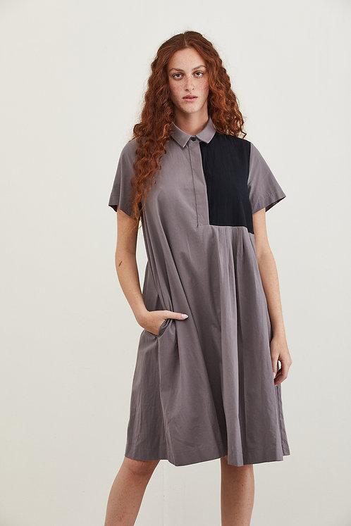 שמלת טליה - אפור שחור