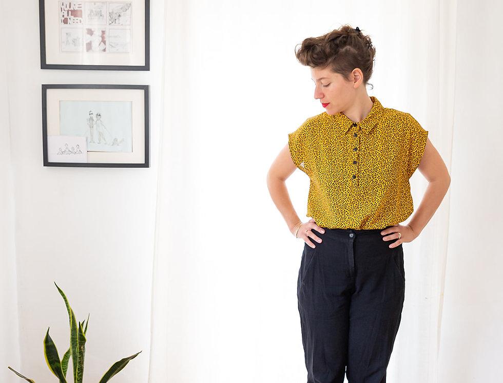 חולצת אנני - צהוב הדפס שחור