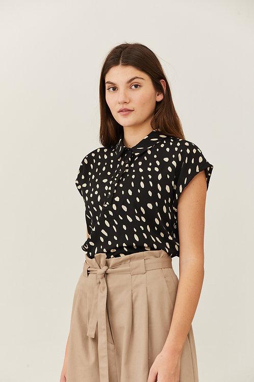 חולצת אנני - שחור הדפס