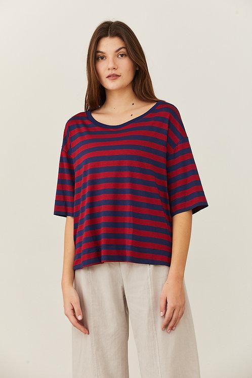 חולצת אוסנת - פסים כחול בורדו