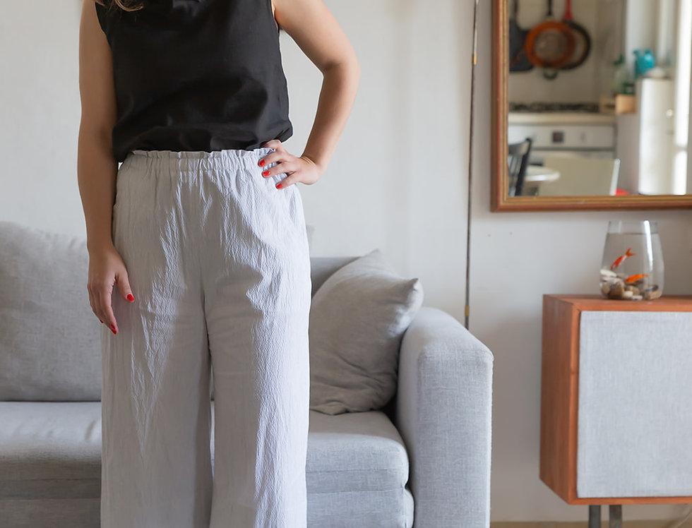 מכנסי אור- לבן שמנת פסים