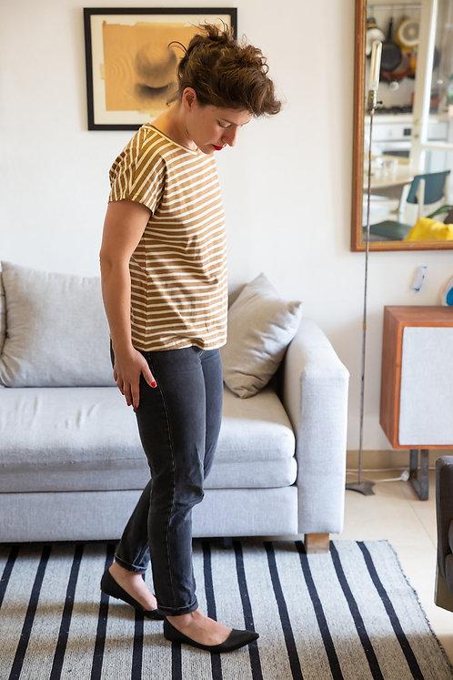 חולצת הילה -פסים חום לבן