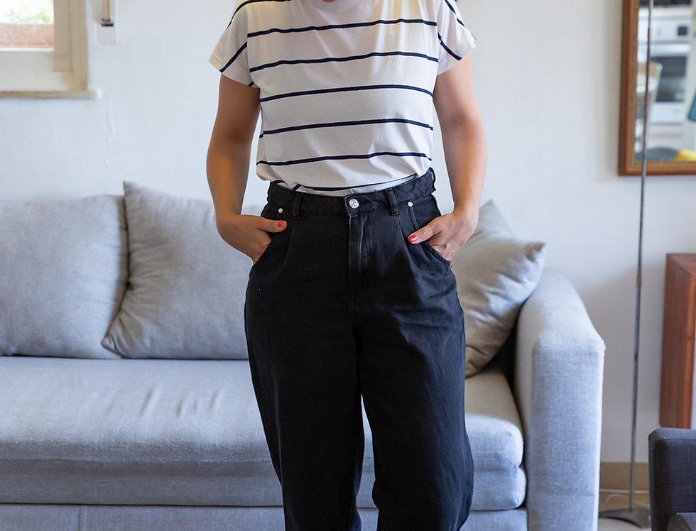 חולצת הילה - פסים לבן וכחול