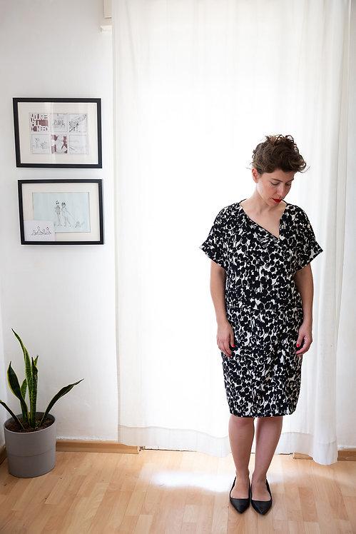שמלת גבי - הדפס שחור לבן