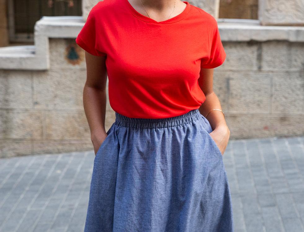 חצאית מישל - תכלת ג'ינס