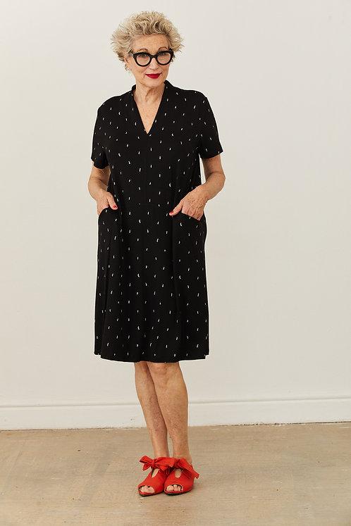 שמלת ליליה - שחור הדפס