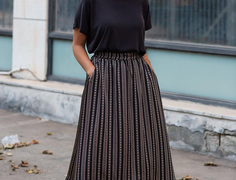 חצאית מישל - שחור הדפס