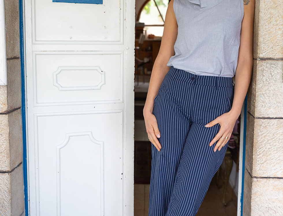 מכנסי אנני-פסים כחול לבן