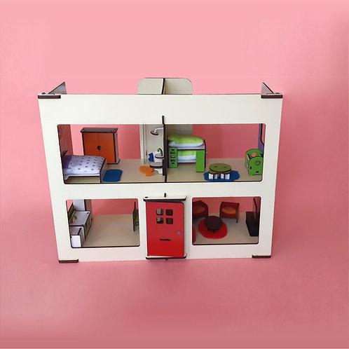 Casa de madera con muebles y accesorios