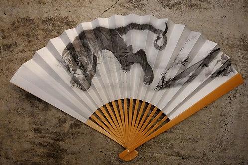 京扇子(27cm) 長沢 芦雪筆「虎図」