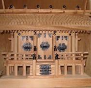 欅彫り屋根三社(黒金具)