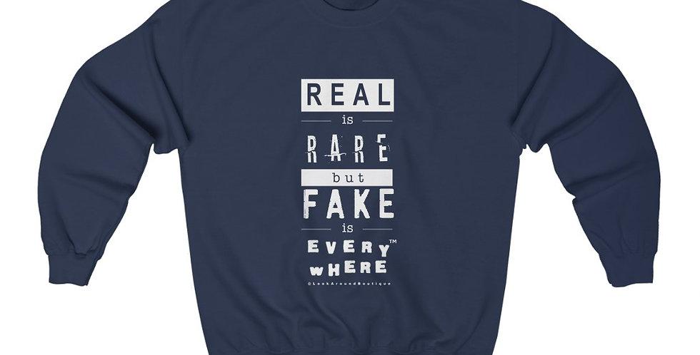 Real & Fake Crewneck Sweatshirt (White)