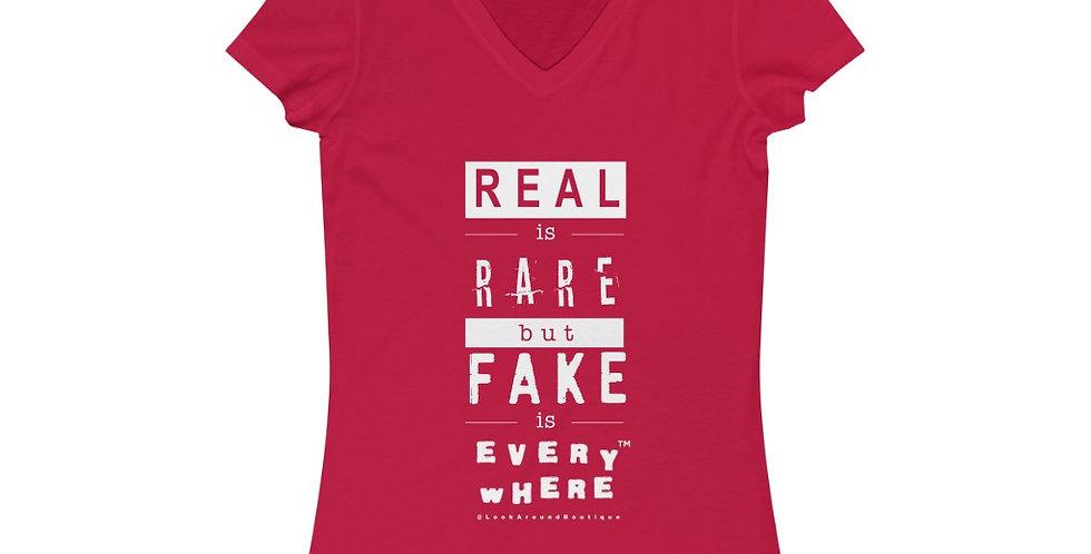Real & Fake V-neck Tee (White)