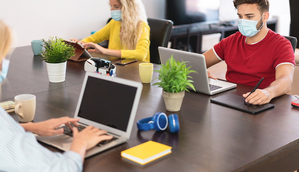 Young people working inside coworking cr