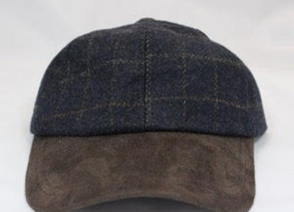 Tweed (checked) and suede ball cap