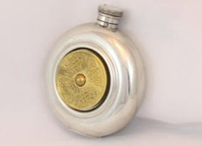 Flask - round with celtic plate
