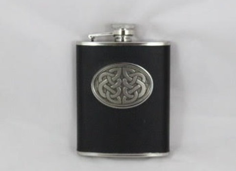 Flask - Black leather wrap with celtic design