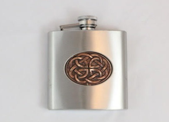 Flask - stainless steel with copper celtic design