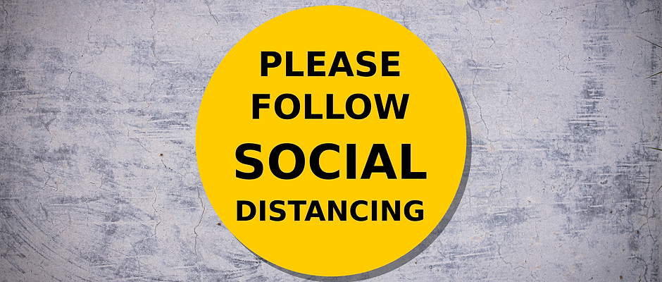 (2 X) PLEASE FOLLOW SOCIAL DISTANCING - vinyl adhesive sticker for retail stores