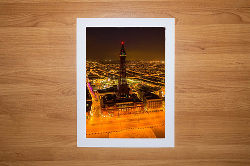 The Blackpool Tower (At Night) Aerial Photo Print (In Mount Or Frame)
