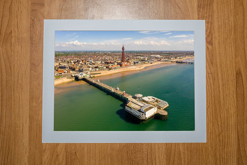 North Pier & Blackpool Tower | Aerial Photo Print (In Mount Or Frame)